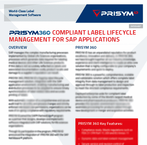 PRISYM ID SAP Datasheet - Compliant Label Lifecycle Management for SAP Applications