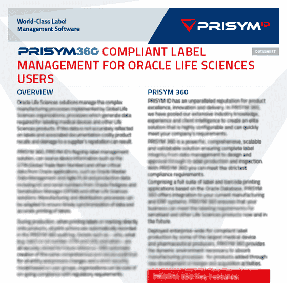 PRISYM ID Oracle Datasheet - Compliant Label Management for Oracle Life Sciences Users