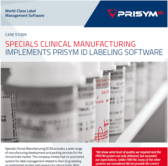 SCM - Specials (SCM Pharma) implements PRISYM ID Labeling Software