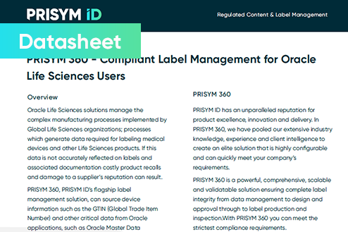 Datasheet Oracle - Compliant Label Management for Oracle Life Sciences Users